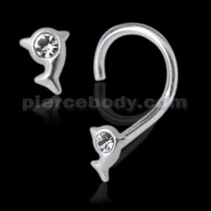 925 Silver Jeweled Dolphin Nose Screw