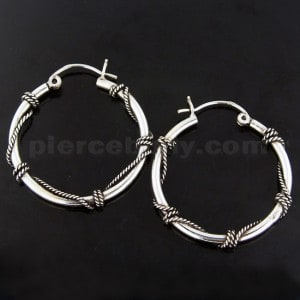 Oxidized 925 Sterling Silver Textured rope Hoop earring