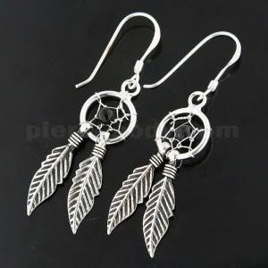 925 Sterling Silver Black Onyx Dream Catcher earring