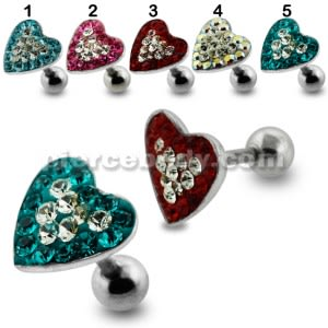 Heart Crystal Surgical Steel Fake Ear Plug