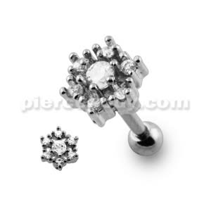 Casting Flower Crystal Cartilage Piercing Earring