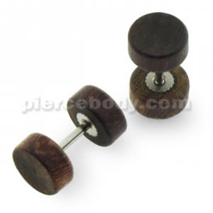 Organic Dark Brown Wood Fake Ear Plug