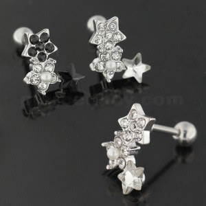 Cartilage Tragus Piercing Jeweled Flower with Star Ear Stud