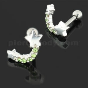 925 Sterling Silver Star with jeweled Tail Cartilage Tragus Piercing Ear Stud