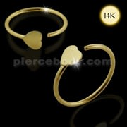 14K Gold Heart Open Gold Nose Hoop