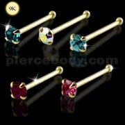 9K Jeweled Gold Ball End Nose Pin