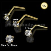 9K Gold L-Shaped Genuine Crystal Nose Stud