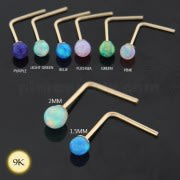 9K yellow Gold L-Shape Opal Stone Nose Stud