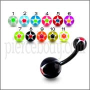 Black UV Belly Curved Bar With Star UV Balls