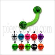 Green UV Assorted Color Banana with 3MM UV Basketball Ball Eyebrow