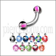 SS Eyebrow Curved Ring with Black And Pink Mix Color UV Balls