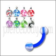 Assorted Color Flexible Banana with 3MM UV Marble Ball Eyebrow Rings