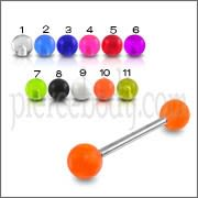 SS Tongue Barbell with UV Balls