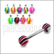 SS Tongue Barbell with Multi Colored UV Active Ball Tongue Ring Barbell