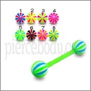 Assortade Color Barbells with Candy Stripes UV Balls Ring Body Jewelry