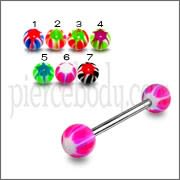 SS Tongue Barbell with Pink UV white Star Print Balls