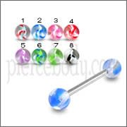 SS Tongue Barbell with Sky Blue Shade UV Balls