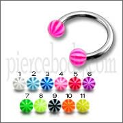 CBB Eyebrow Lip Piercing Ring With Multi Color UV Balls