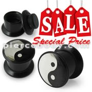 Black Ying Yang Logo With Screw Fit Ear Flesh Tunnel