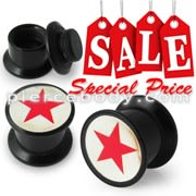 Red Star Logo Screw Fit Ear Flesh Tunnel