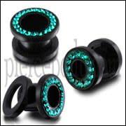UV Ear Flesh Tunnel in Glue Setting With Blue Zircon