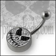 Mr.Jack Logo Crystal stone Belly Ring