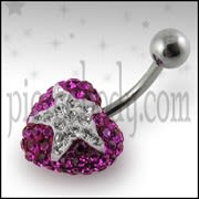 Crystal stone Heart Belly Ring With Surgical Steel FDBLY355