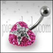 Surgical Steel With Pink And White Crystal stone Heart Navel Ring FDBLY357
