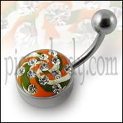 Multi Color painted Crystal Navel Ring with Steel Base