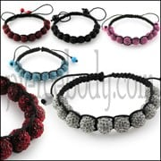 Crystal Ball Leather Rope Bracelet