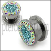 Multi Color Crystal Heart SS Screw Fit Ear Flesh Tunnel