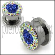 SS Screw Fit Crystal Blue Heart Ear Flesh Tunnel