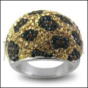 Yellow And Black Crystal Finger Band