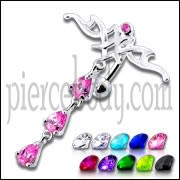 Pink Jeweled Fancy Silver Dangling Navel Ring Body Jewelry