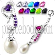 Silver Jeweled Fancy Dangling SS banana Bar Belly Ring