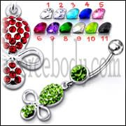 Multi Color Jeweled Fancy Silver Dangling SS Bar Belly Ring