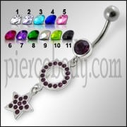 Jeweled Fancy Silver Dangling Belly Ring