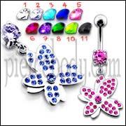 Multi Jeweled Fancy Flower Silver Dangling SS Banana Bar Navel Ring