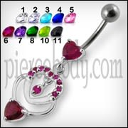 Fancy Red Jeweled Multi Heart Dangling Curved Belly Body Jewelry Ring