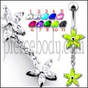 Fancy Jeweled Double Flower Dangling SS Banana Bar Navel Ring