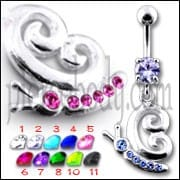 Fancy Gothic Jeweled Dangling Navel Ring