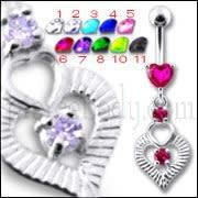 Silver Fancy Pink Heart Jeweled Heart Dangling Banana Belly Ring