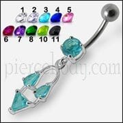 Silver Fancy Blue Stone Jeweled Dangling Navel Ring