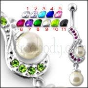 Fancy Centered PEARL Jeweled Dangling Navel Body Ring