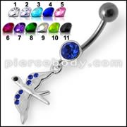 Jeweled Flying Pigeon Dangling Belly Ring