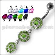 Fancy Old Classic Design Green Jeweled Dangling Navel Ring