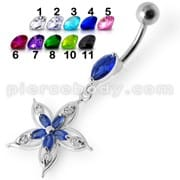 Fancy Star Jeweled Silver Dangling Belly Ring