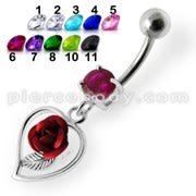Rose in Heart Jeweled Dangling Belly Ring
