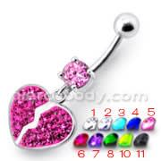 Broken Heart Dangling Sterling Silver Belly Ring