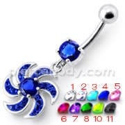 Jeweled Swril Dangling Belly Ring